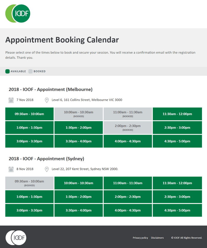 IOOF Appointment Booking Calendar