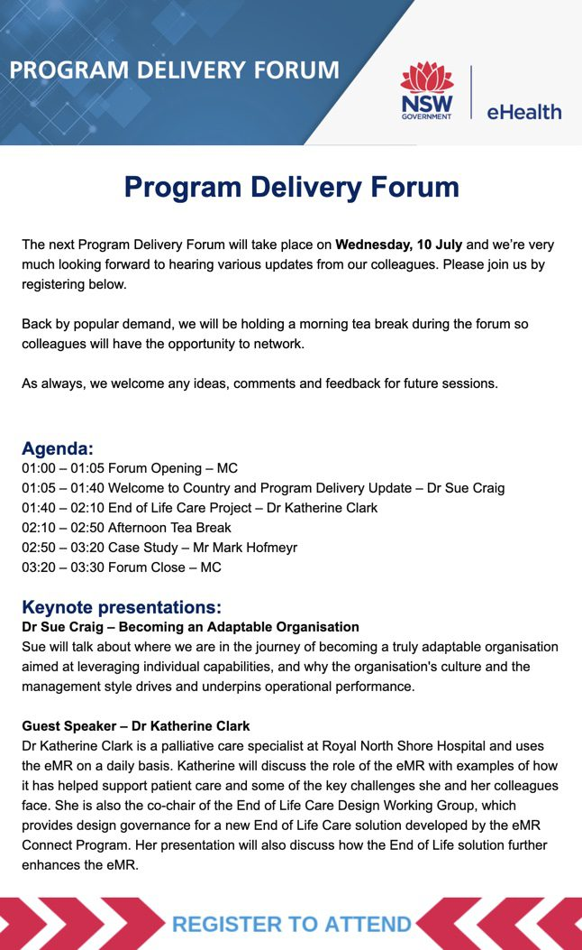 a newsletter from nsw e health